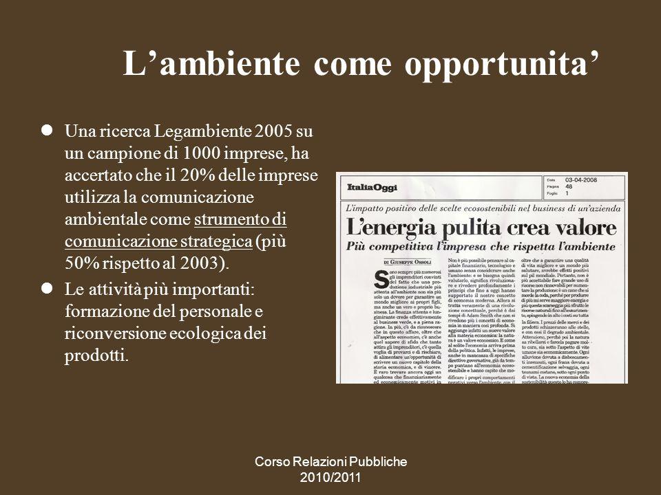 Corso Relazioni Pubbliche 2010/2011 La sindrome N.I.M.B.Y.