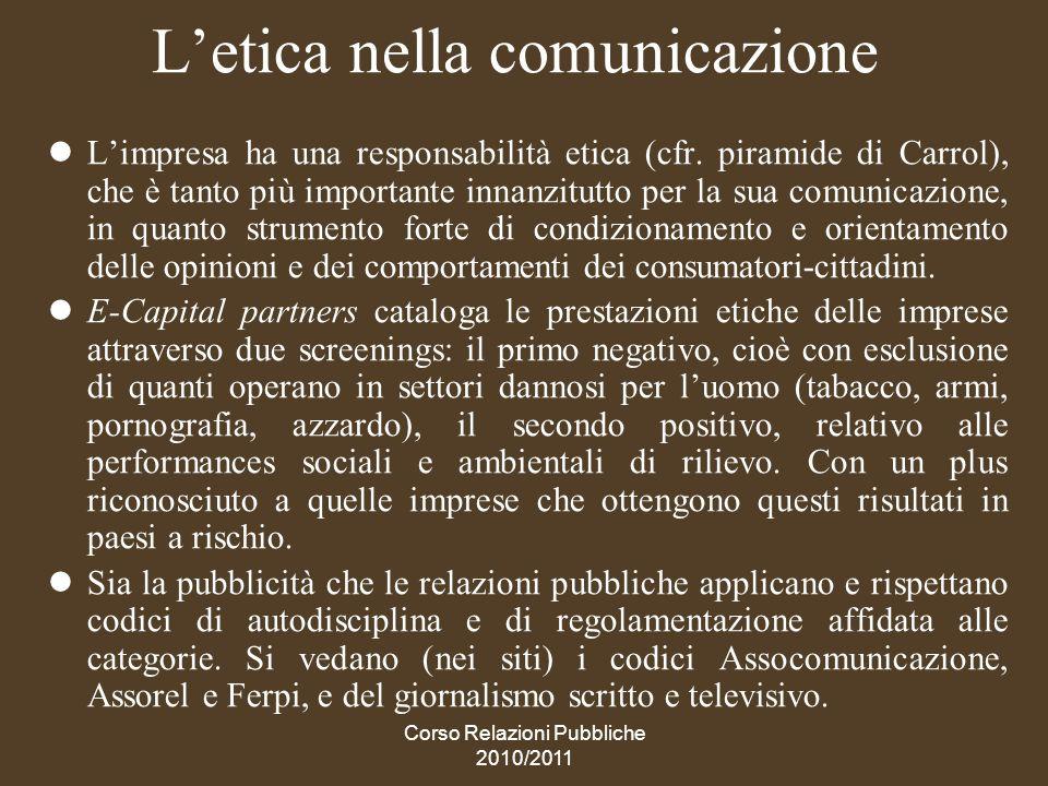 Corso Relazioni Pubbliche 2010/2011 I codici di autoregolamentazione professionale Dal Codice dellIstituto dellAutodisciplina Pubblicitaria: la pubblicità deve essere onesta, veritiera e corretta.