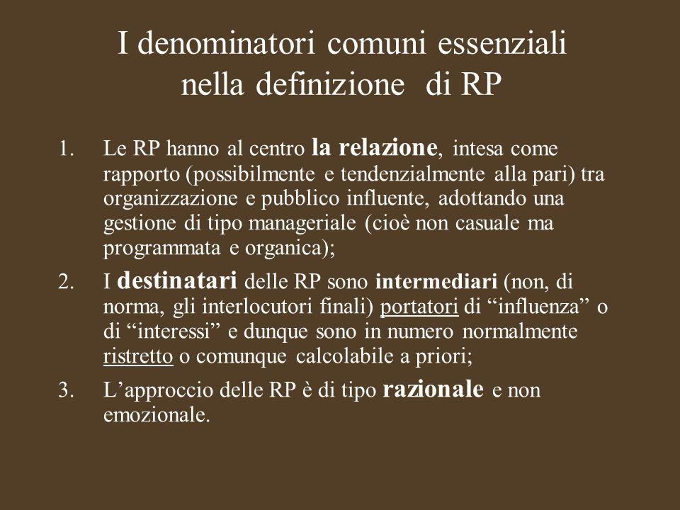 Corso Relazioni Pubbliche 2010/2011 Le RP come strumento-chiave per raggiungere i fini ultimi dellorganizzazione I FINI ULTIMI CAMBIANO A SECONDA DELLORGANIZZAZIONE: per limpresa: GARANTIRE LECONOMICITA E IL PROFITTO NEL RISPETTO DELLE COMPATIBILITA GENERALI = le RP devono evidenziare la rilevanza dellequazione tra interessi privati e pubblici per la P.A.: GARANTIRE OBIETTIVI DI INTERESSE GENERALE SECONDO PRINCIPI DI ECONOMICITA = le RP devono evidenziarne equità ed efficacia Per le altre organizzazioni (sociali, ambientali, non profit ecc.): GARANTIRE CAPACITA DI ATTRAZIONE&COINVOLGIMENTO&ADESIONE = le RP devono evidenziare la convenienza non solo materiale della partecipazione agli obiettivi.