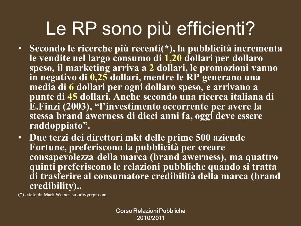 Corso Relazioni Pubbliche 2010/2011 Le marketing PR: una sinergia possibile tra RP e advertising