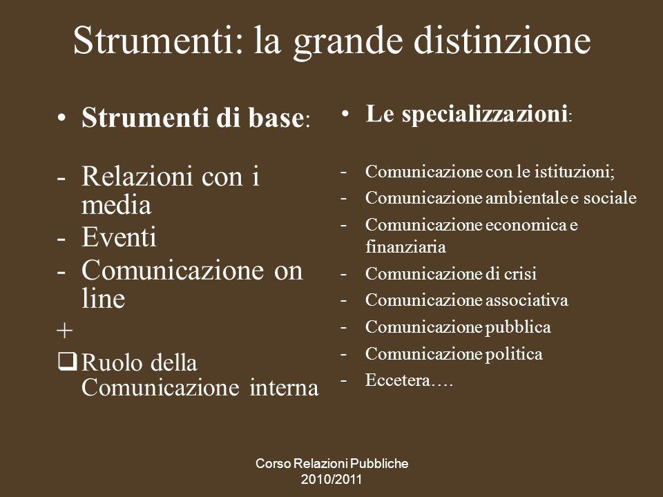 Corso Relazioni Pubbliche 2010/2011 STRUMENTI DI BASE (relazioni con i media, eventi, comunicazione on line)
