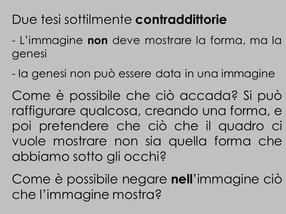 Due tesi sottilmente contraddittorie - Limmagine non deve mostrare la forma, ma la genesi - la genesi non può essere data in una immagine Come è possibile che ciò accada.