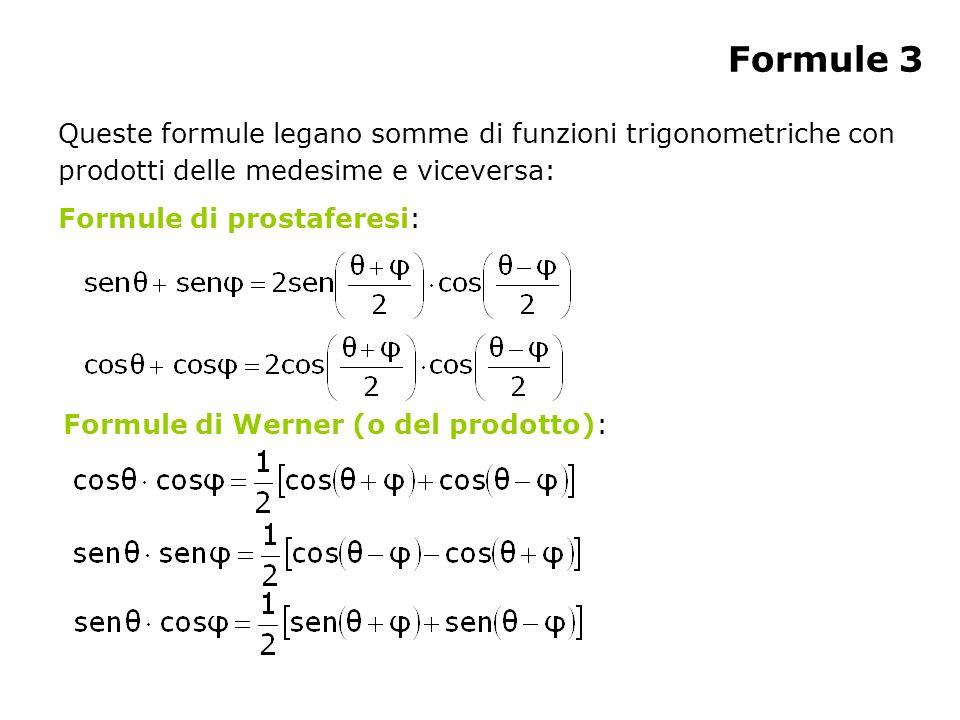 Formule 3 Queste formule legano somme di funzioni trigonometriche con prodotti delle medesime e viceversa: Formule di prostaferesi: Formule di Werner