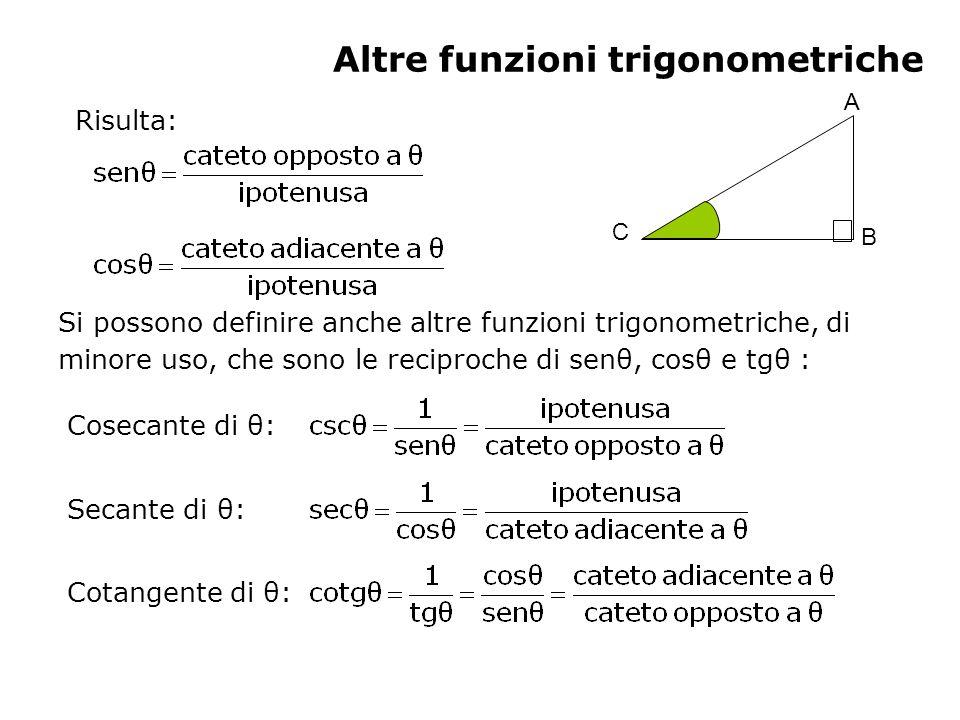 Teoremi sui triangoli Dato un triangolo qualsiasi, di lati a, b, c, e angoli oppostirispettivamente, valgono i seguenti teoremi: Teorema dei seni: Teorema del coseno (o di Carnot): a 2 =b 2 +c 2 -2bc cos b 2 =a 2 +c 2 -2ac cos c 2 =b 2 +a 2 -2ba cos È chiaramente una generalizzazione del teorema di Pitagora.