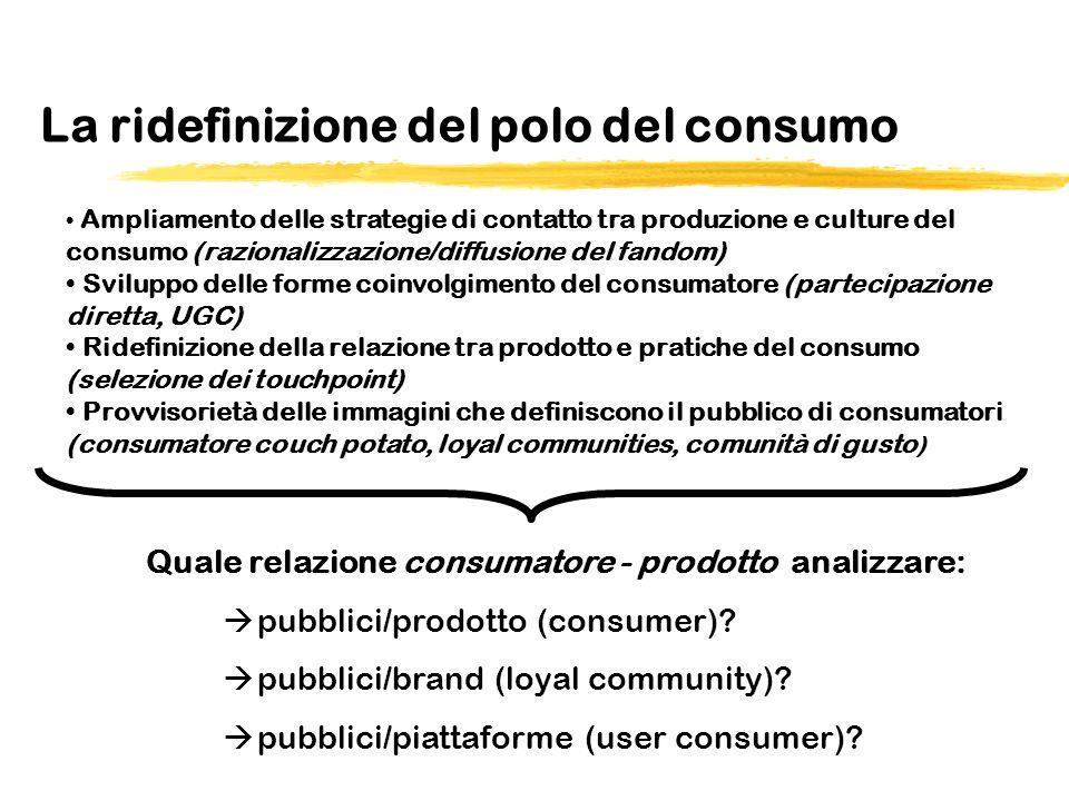 La ridefinizione del polo del consumo Quale relazione consumatore - prodotto analizzare: pubblici/prodotto (consumer).