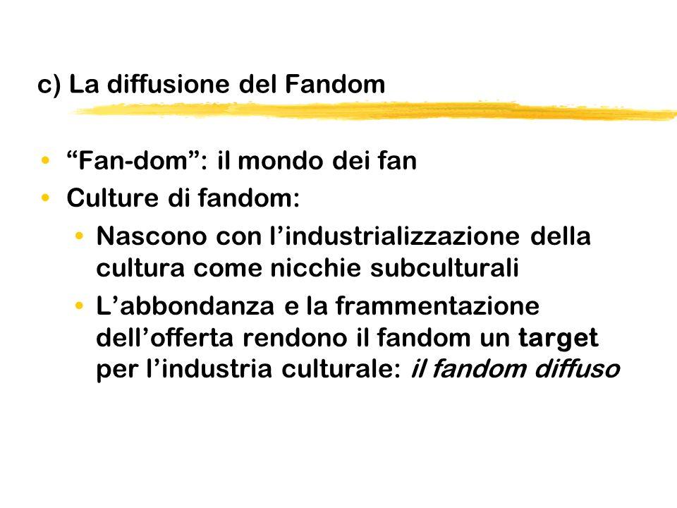 c) La diffusione del Fandom Fan-dom: il mondo dei fan Culture di fandom: Nascono con lindustrializzazione della cultura come nicchie subculturali Labbondanza e la frammentazione dellofferta rendono il fandom un target per lindustria culturale: il fandom diffuso