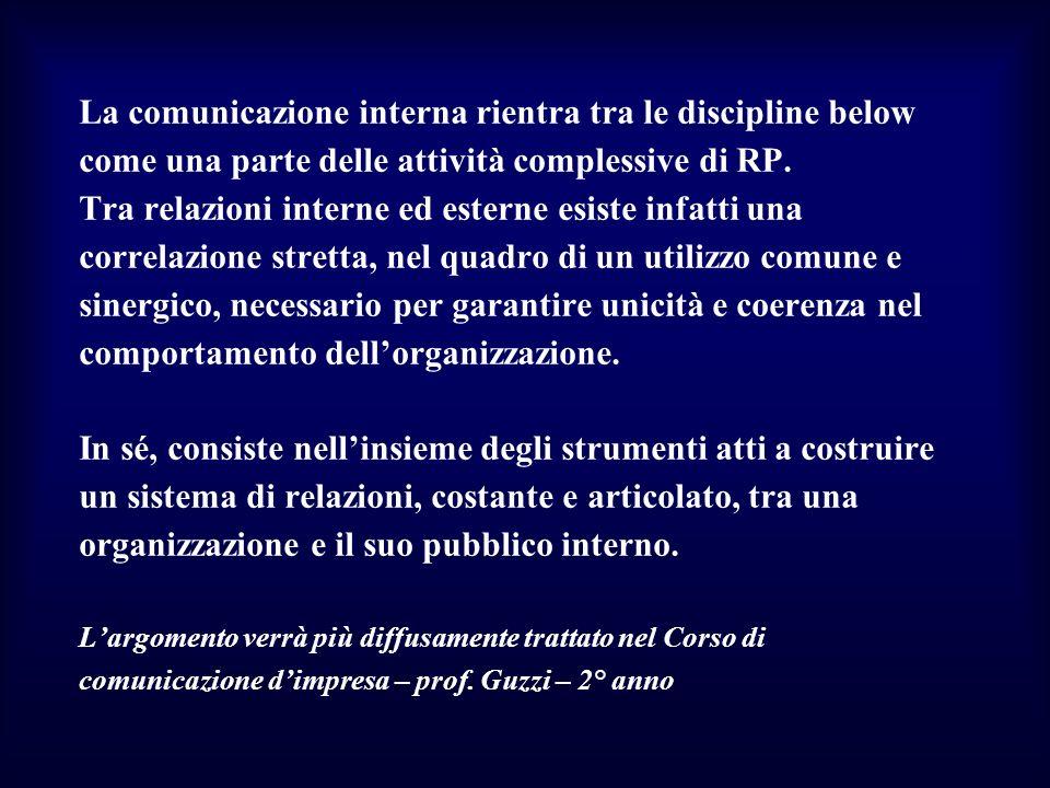 La comunicazione interna rientra tra le discipline below come una parte delle attività complessive di RP. Tra relazioni interne ed esterne esiste infa