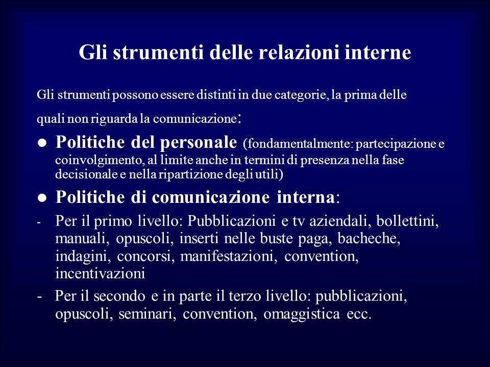 Gli strumenti delle relazioni interne Gli strumenti possono essere distinti in due categorie, la prima delle quali non riguarda la comunicazione : Pol