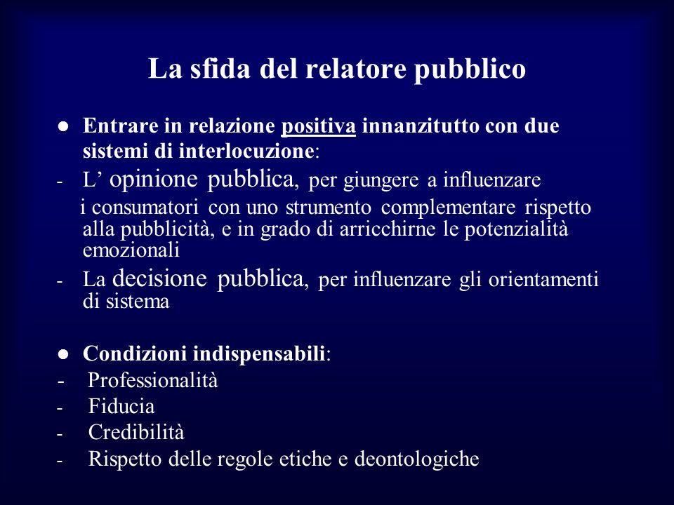 La sfida del relatore pubblico Entrare in relazione positiva innanzitutto con due sistemi di interlocuzione: - L opinione pubblica, per giungere a inf