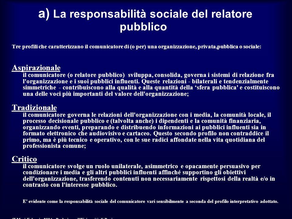 a) La responsabilità sociale del relatore pubblico Tre profili che caratterizzano il comunicatore di (o per) una organizzazione, privata,pubblica o sociale: Aspirazionale il comunicatore (o relatore pubblico) sviluppa, consolida, governa i sistemi di relazione fra l organizzazione e i suoi pubblici influenti.