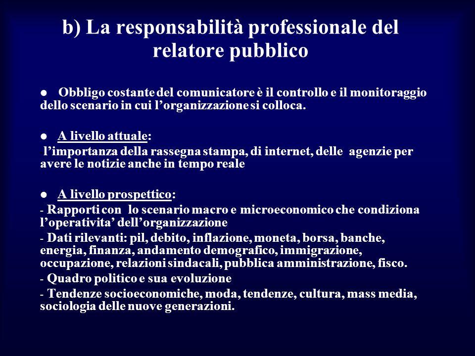 b) La responsabilità professionale del relatore pubblico Obbligo costante del comunicatore è il controllo e il monitoraggio dello scenario in cui lorganizzazione si colloca.