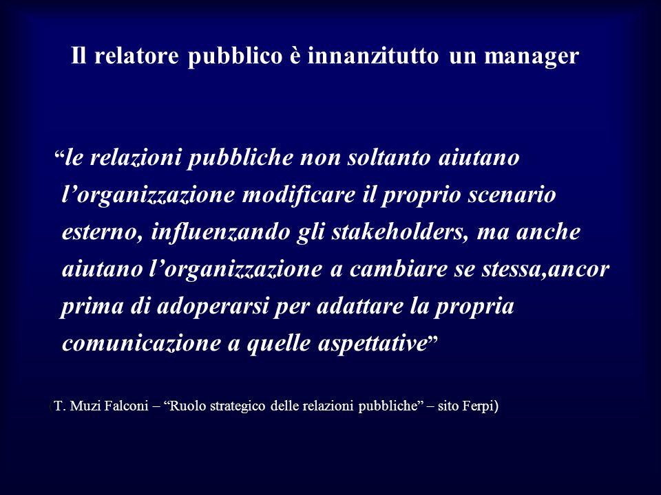 Il relatore pubblico è innanzitutto un manager le relazioni pubbliche non soltanto aiutano lorganizzazione modificare il proprio scenario esterno, inf