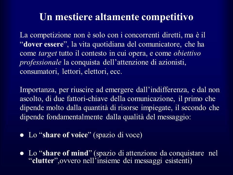 Un mestiere altamente competitivo La competizione non è solo con i concorrenti diretti, ma è il dover essere, la vita quotidiana del comunicatore, che