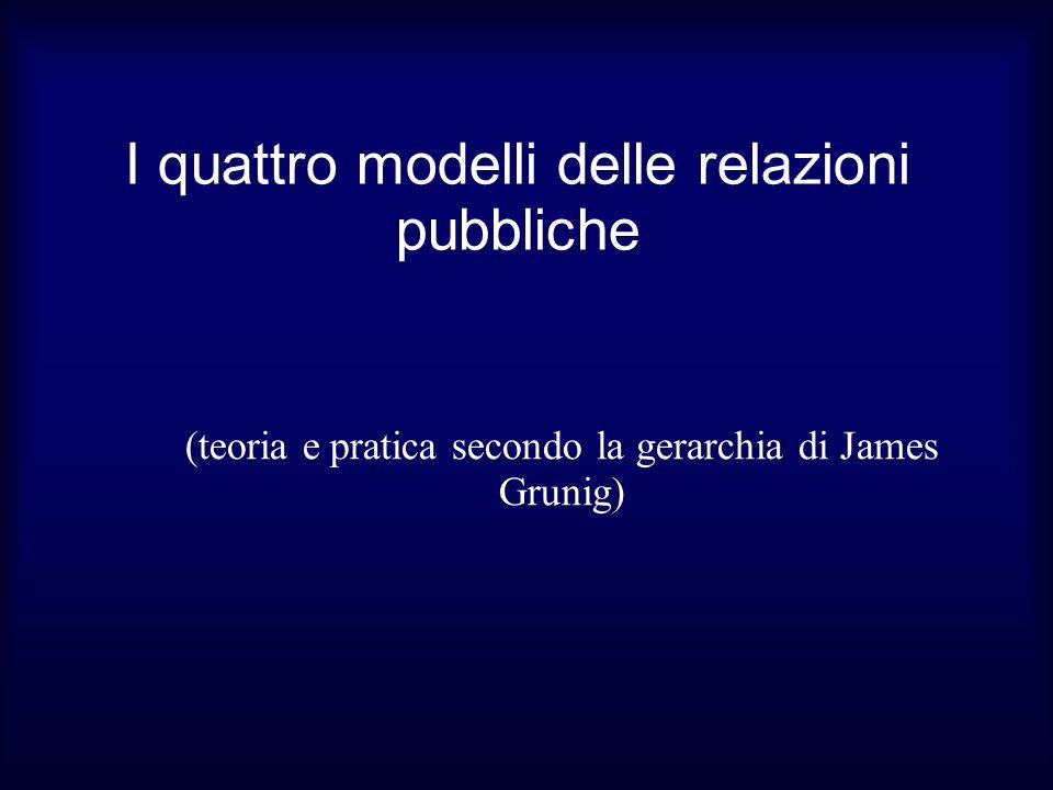 I quattro modelli delle relazioni pubbliche (teoria e pratica secondo la gerarchia di James Grunig)