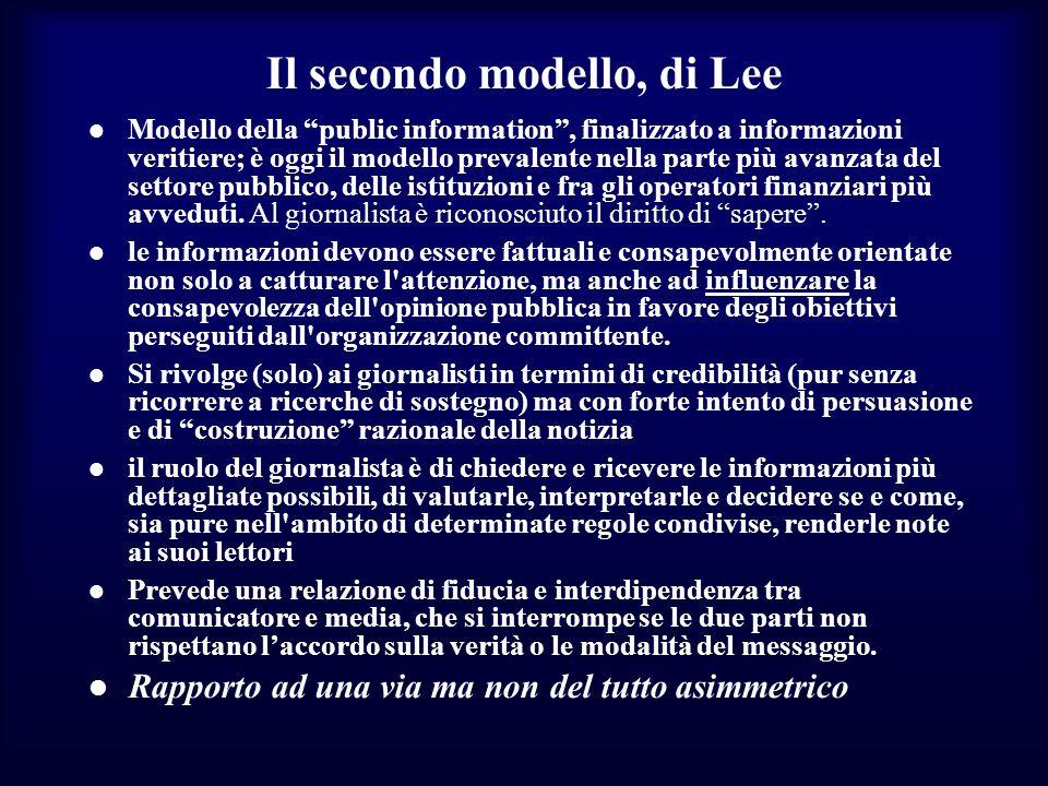 Il secondo modello, di Lee Modello della public information, finalizzato a informazioni veritiere; è oggi il modello prevalente nella parte più avanzata del settore pubblico, delle istituzioni e fra gli operatori finanziari più avveduti.