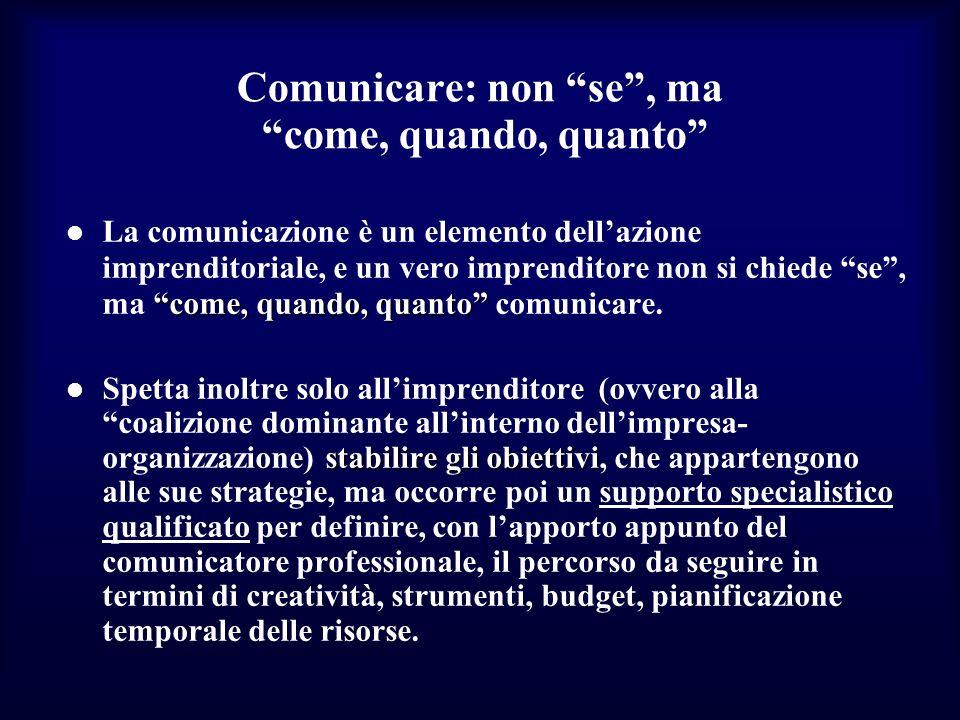 Comunicare: non se, ma come, quando, quanto come, quando, quanto La comunicazione è un elemento dellazione imprenditoriale, e un vero imprenditore non si chiede se, ma come, quando, quanto comunicare.