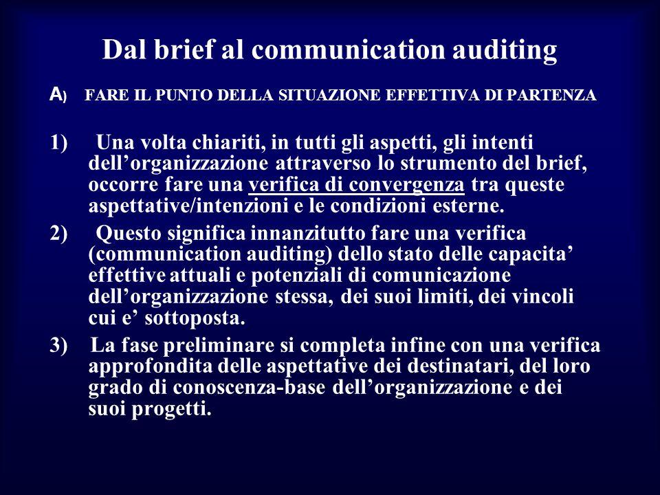 Dal brief al communication auditing A ) FARE IL PUNTO DELLA SITUAZIONE EFFETTIVA DI PARTENZA 1) Una volta chiariti, in tutti gli aspetti, gli intenti