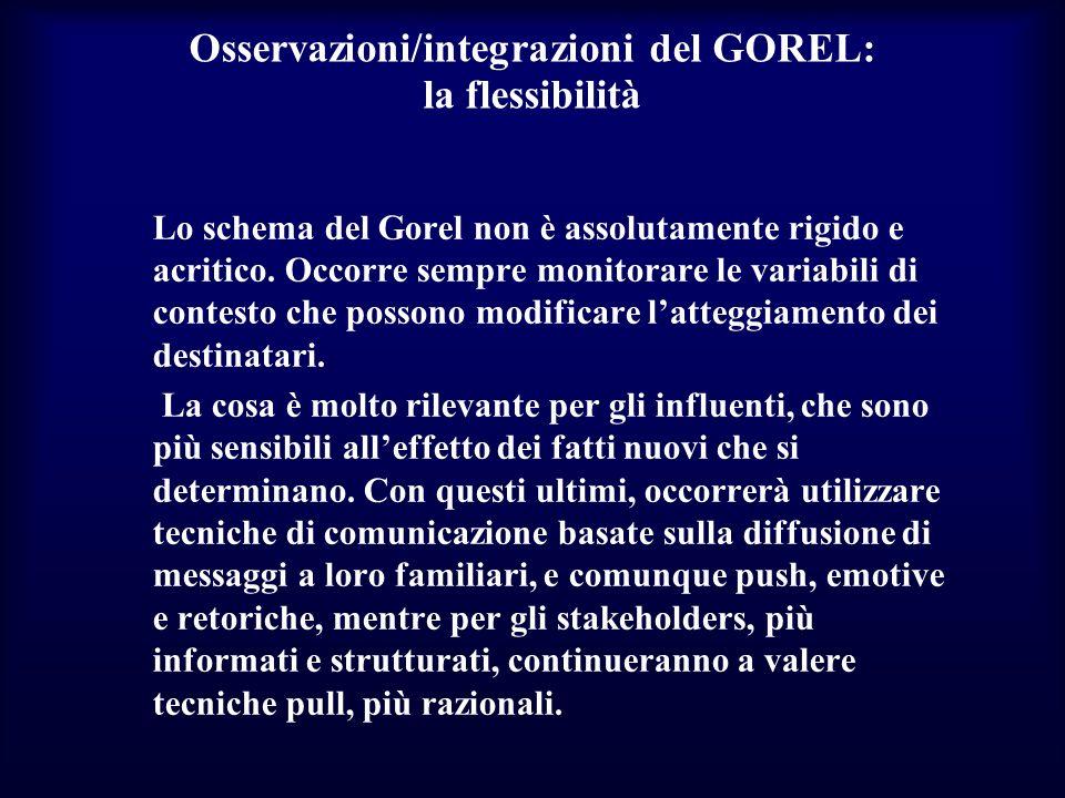 Osservazioni/integrazioni del GOREL: la flessibilità Lo schema del Gorel non è assolutamente rigido e acritico. Occorre sempre monitorare le variabili