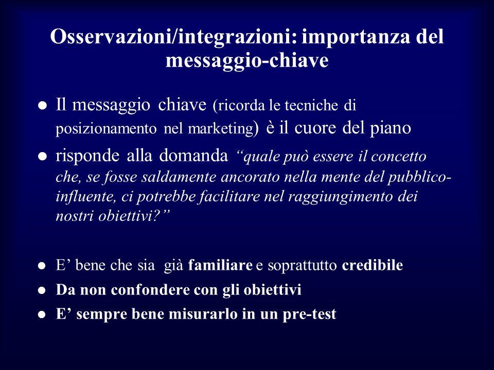 Osservazioni/integrazioni: importanza del messaggio-chiave Il messaggio chiave (ricorda le tecniche di posizionamento nel marketing ) è il cuore del p