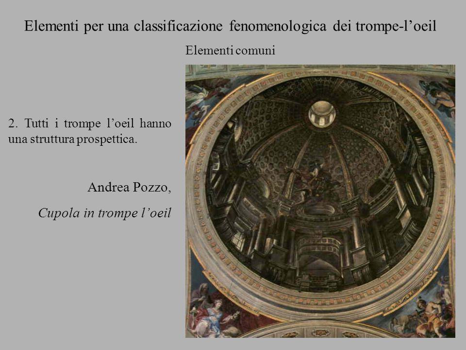 2. Tutti i trompe loeil hanno una struttura prospettica. Andrea Pozzo, Cupola in trompe loeil Elementi per una classificazione fenomenologica dei trom