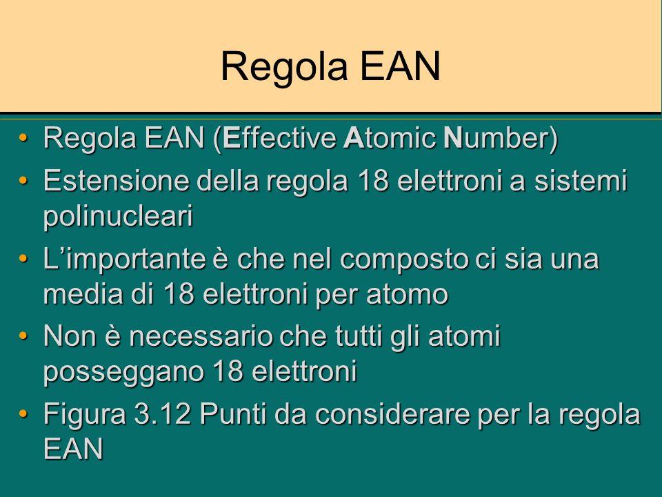 Regola EAN Regola EAN (Effective Atomic Number)Regola EAN (Effective Atomic Number) Estensione della regola 18 elettroni a sistemi polinucleariEstensi