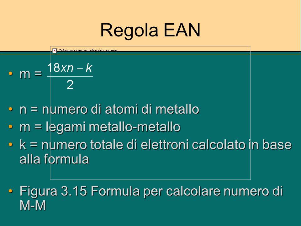 Regola EAN Os 6 (CO) 18 18xn = 18x6 = 108 eOs 6 (CO) 18 18xn = 18x6 = 108 e k = 6x8 + 18x2 = 84 e k = 6x8 + 18x2 = 84 e m = = 12m = = 12 Sono predetti 12 latiSono predetti 12 lati Questo è compatibile con tetraedro bicappatoQuesto è compatibile con tetraedro bicappato Figura 3.16 Calcoli degli M-M in Os 6 (CO) 18Figura 3.16 Calcoli degli M-M in Os 6 (CO) 18