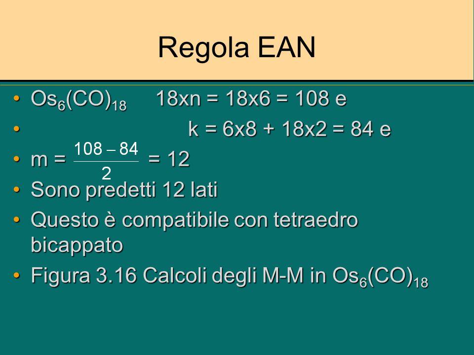 Regola EAN Os 6 (CO) 18 18xn = 18x6 = 108 eOs 6 (CO) 18 18xn = 18x6 = 108 e k = 6x8 + 18x2 = 84 e k = 6x8 + 18x2 = 84 e m = = 12m = = 12 Sono predetti