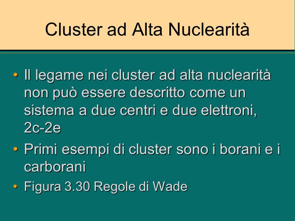 Cluster ad Alta Nuclearità Il legame nei cluster ad alta nuclearità non può essere descritto come un sistema a due centri e due elettroni, 2c-2eIl leg