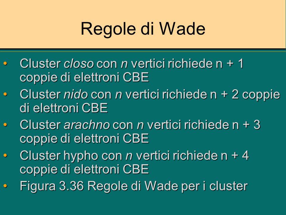 Regole di Wade Cluster closo con n vertici richiede n + 1 coppie di elettroni CBECluster closo con n vertici richiede n + 1 coppie di elettroni CBE Cl