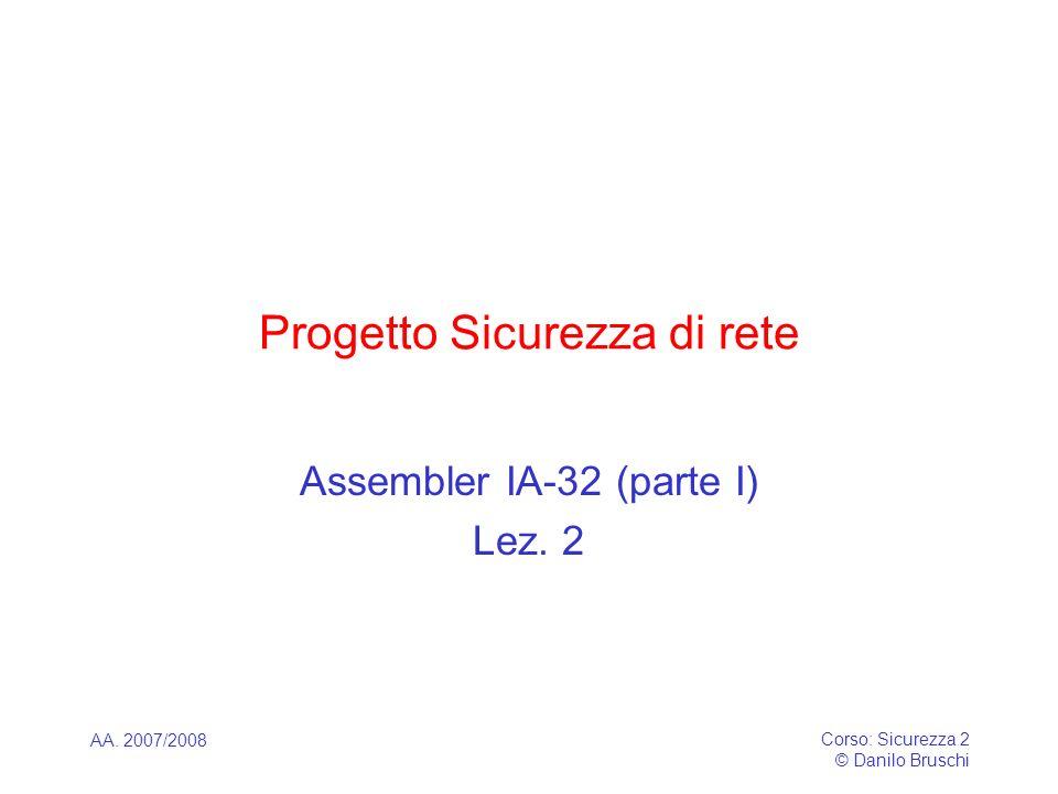 AA. 2007/2008 Corso: Sicurezza 2 © Danilo Bruschi Progetto Sicurezza di rete Assembler IA-32 (parte I) Lez. 2