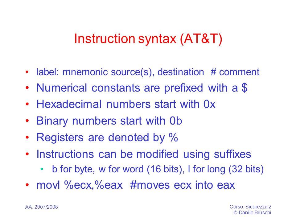 AA. 2007/2008 Corso: Sicurezza 2 © Danilo Bruschi Instruction syntax (AT&T) label: mnemonic source(s), destination # comment Numerical constants are p
