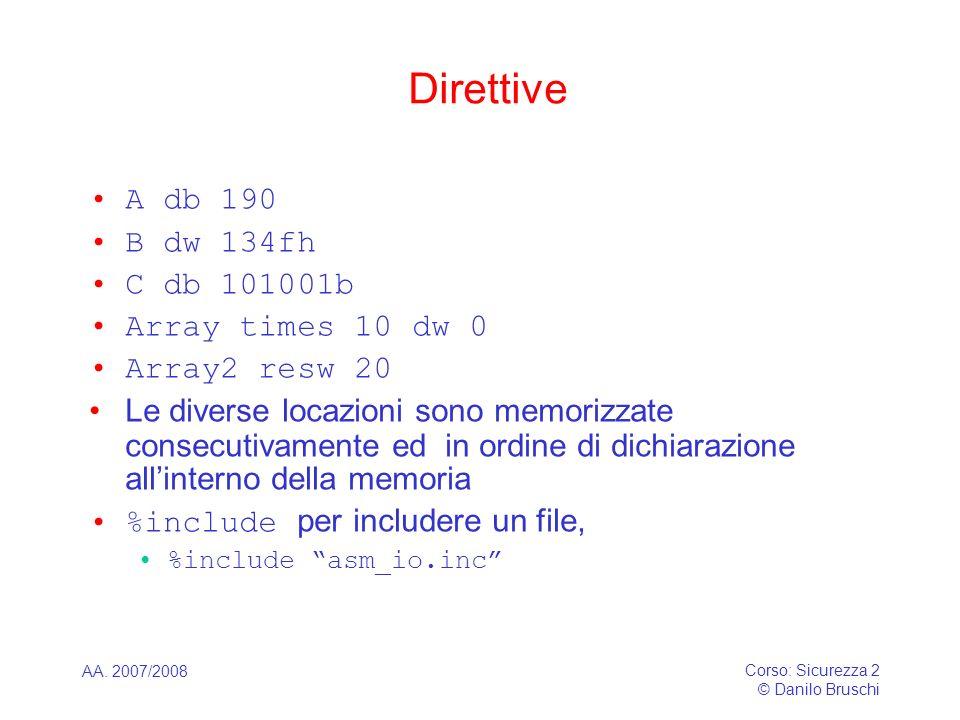 AA. 2007/2008 Corso: Sicurezza 2 © Danilo Bruschi Direttive A db 190 B dw 134fh C db 101001b Array times 10 dw 0 Array2 resw 20 Le diverse locazioni s