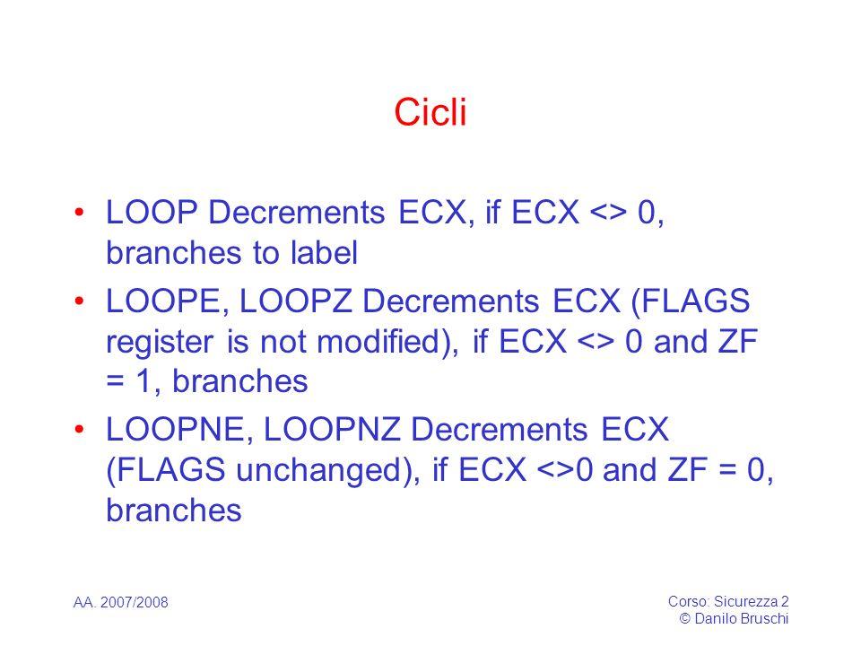 AA. 2007/2008 Corso: Sicurezza 2 © Danilo Bruschi Cicli LOOP Decrements ECX, if ECX <> 0, branches to label LOOPE, LOOPZ Decrements ECX (FLAGS registe