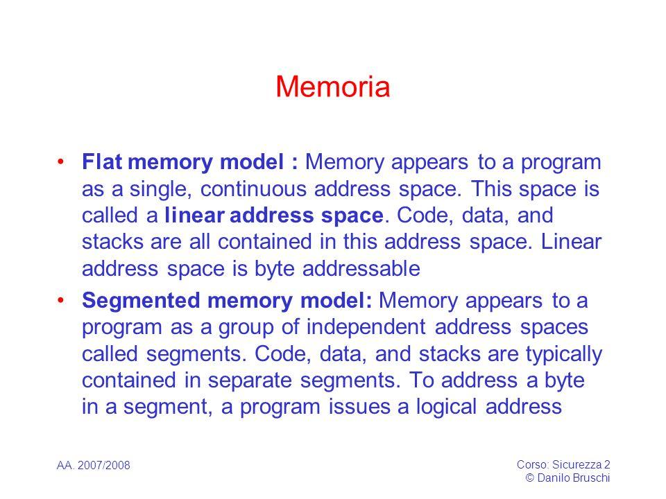 AA. 2007/2008 Corso: Sicurezza 2 © Danilo Bruschi Memoria Flat memory model : Memory appears to a program as a single, continuous address space. This