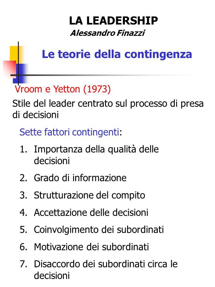 LA LEADERSHIP Alessandro Finazzi Le teorie della contingenza Vroom e Yetton (1973) Sette fattori contingenti: 1.Importanza della qualità delle decisio