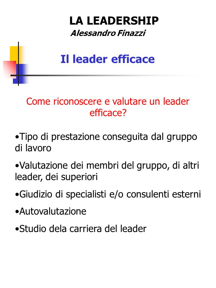 LA LEADERSHIP Alessandro Finazzi Il leader efficace Tipo di prestazione conseguita dal gruppo di lavoro Valutazione dei membri del gruppo, di altri le