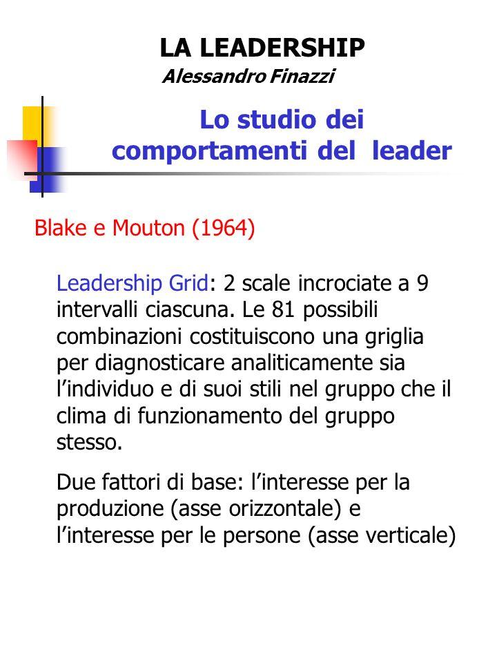 LA LEADERSHIP Alessandro Finazzi Lo studio dei comportamenti del leader Blake e Mouton (1964) Cinque stili di conduzione: 1.Centrato sulla produzione (operativo duro).