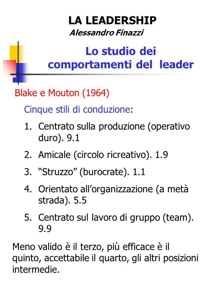 LA LEADERSHIP Alessandro Finazzi Lo studio dei comportamenti del leader Blake e Mouton (1964) Cinque stili di conduzione: 1.Centrato sulla produzione