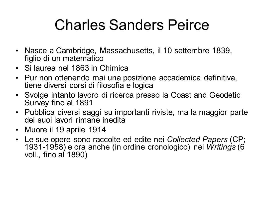 Charles Sanders Peirce Nasce a Cambridge, Massachusetts, il 10 settembre 1839, figlio di un matematico Si laurea nel 1863 in Chimica Pur non ottenendo
