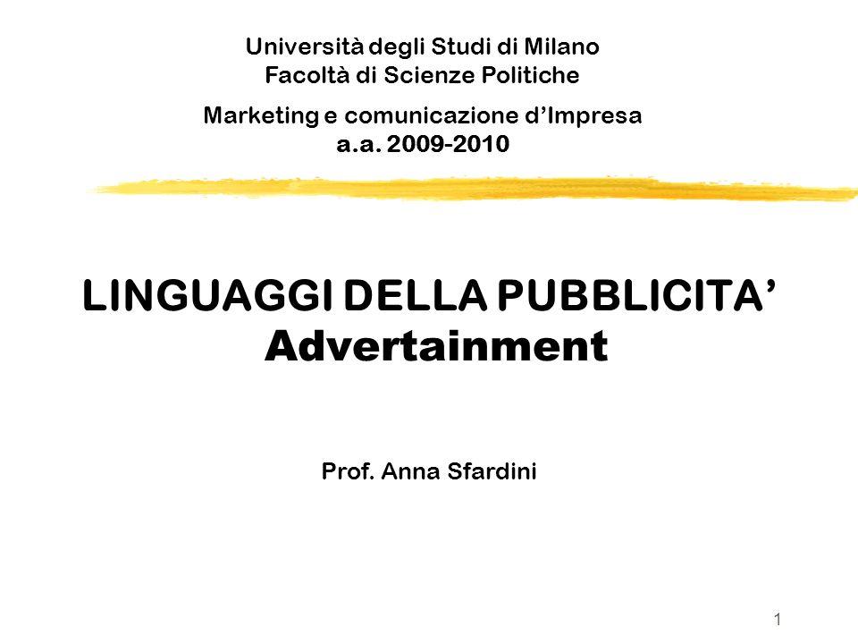 LINGUAGGI DELLA PUBBLICITA Advertainment Prof. Anna Sfardini Università degli Studi di Milano Facoltà di Scienze Politiche v Marketing e comunicazione