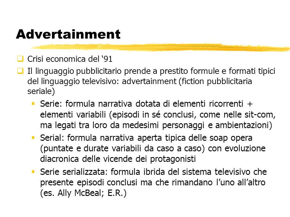 Advertainment prima maniera I primordi: un giallo per la nuova immagine di Telecom Italia (1993…2002) http://www.youtube.com/watch?v=0KboVCwY50c Pagine gialle: il giallo con tutte le soluzioni Megan Gale Omnitel: http://www.youtube.com/watch?v=ze5QMkwADpk&feature=related http://www.youtube.com/watch?v=ze5QMkwADpk&feature=related La commedia allitaliana del caffè Lavazza 1995 con Tullio Solenghi (solo quando è buono il caffè va in paradiso) 2000 Bonolis e Laurenti