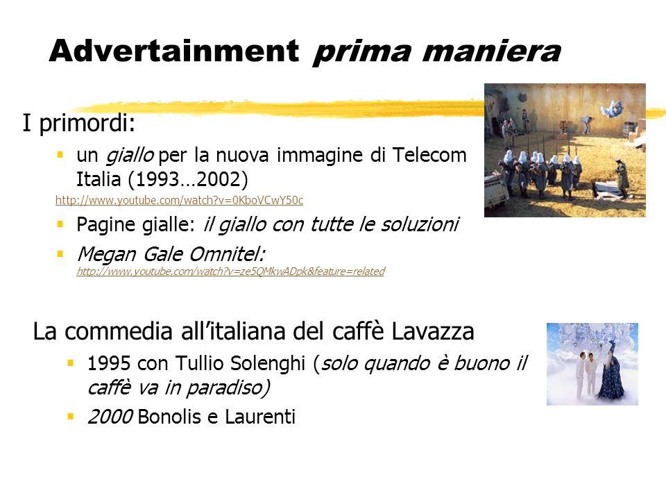 Advertainment prima maniera I primordi: un giallo per la nuova immagine di Telecom Italia (1993…2002) http://www.youtube.com/watch?v=0KboVCwY50c Pagin