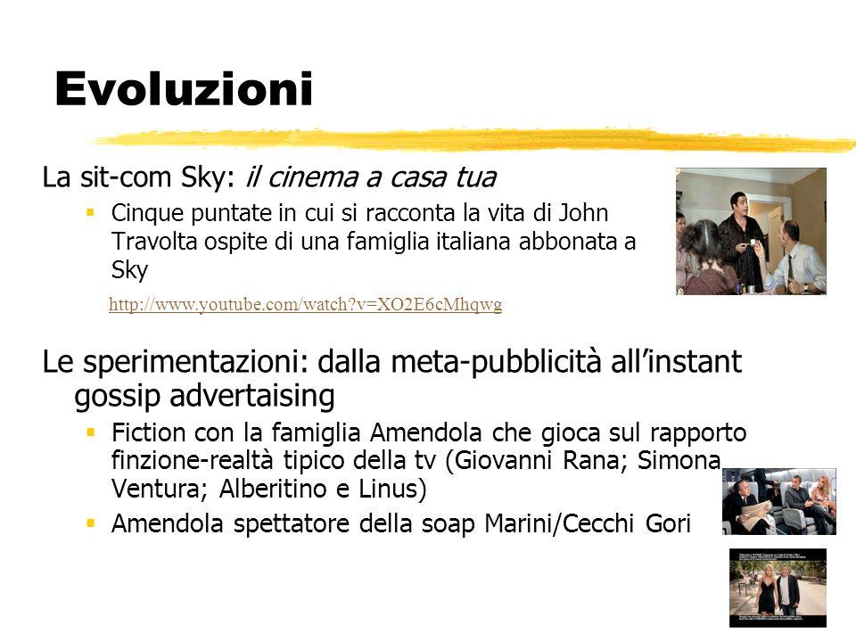 Evoluzioni La sit-com Sky: il cinema a casa tua Cinque puntate in cui si racconta la vita di John Travolta ospite di una famiglia italiana abbonata a