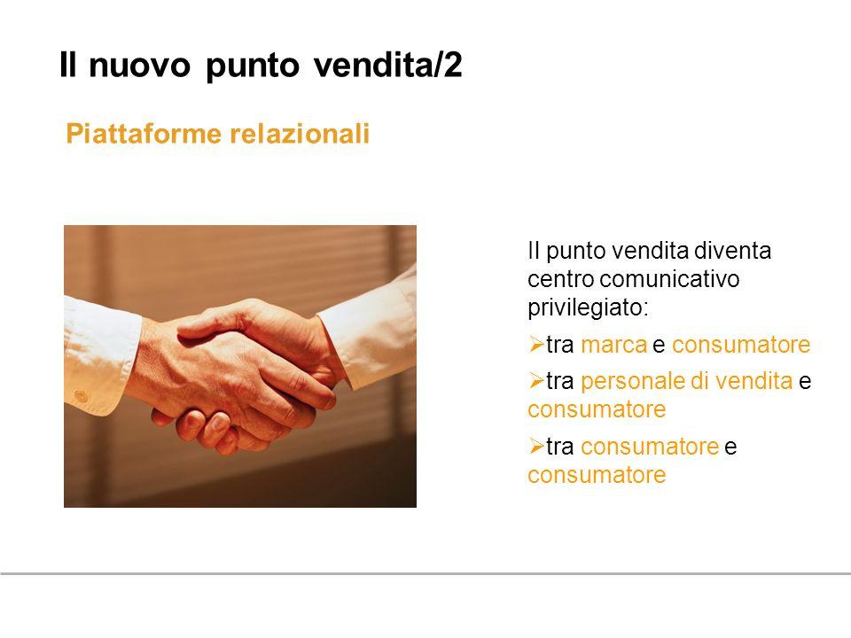 Piattaforme relazionali Il nuovo punto vendita/2 Il punto vendita diventa centro comunicativo privilegiato: tra marca e consumatore tra personale di v