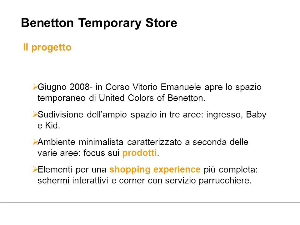 Il progetto Giugno 2008- in Corso Vitorio Emanuele apre lo spazio temporaneo di United Colors of Benetton. Sudivisione dellampio spazio in tre aree: i