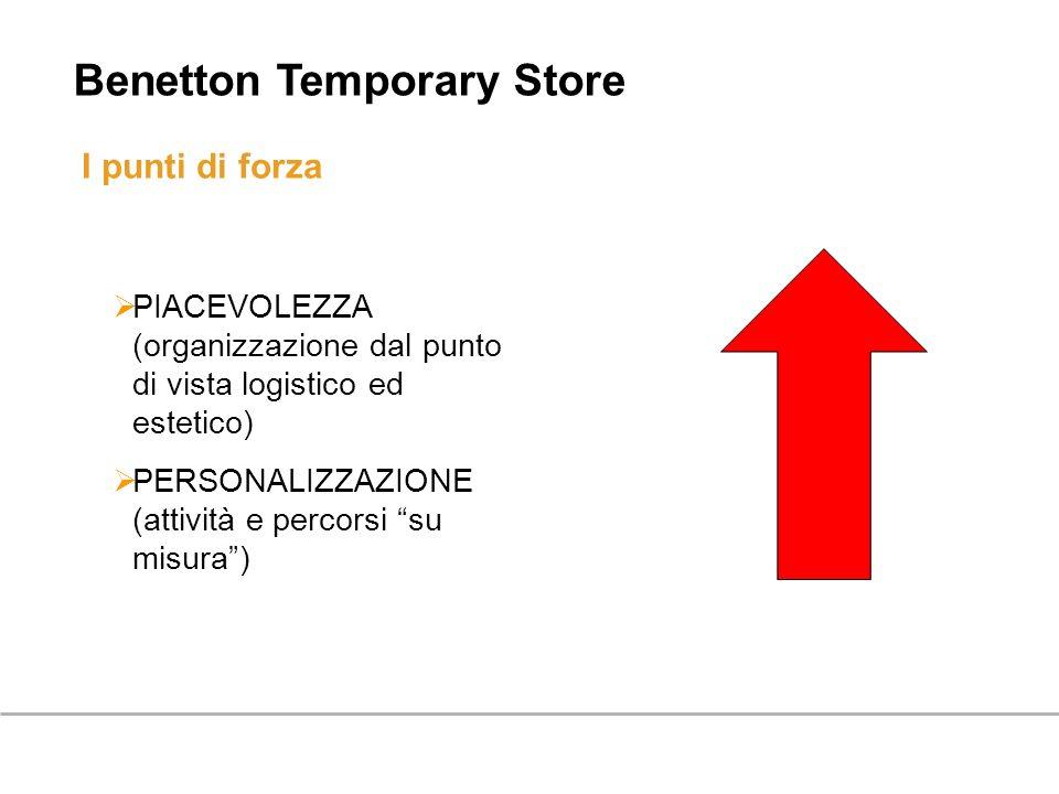 I punti di forza PIACEVOLEZZA (organizzazione dal punto di vista logistico ed estetico) PERSONALIZZAZIONE (attività e percorsi su misura) Benetton Tem