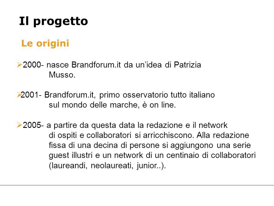 Le origini 2000- nasce Brandforum.it da unidea di Patrizia Musso. 2001- Brandforum.it, primo osservatorio tutto italiano sul mondo delle marche, è on