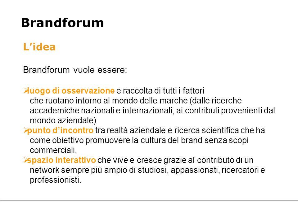 Lidea Brandforum vuole essere: luogo di osservazione e raccolta di tutti i fattori che ruotano intorno al mondo delle marche (dalle ricerche accademic