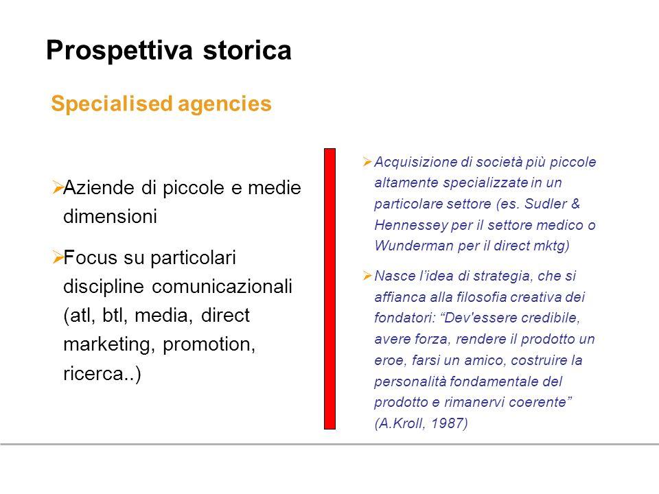 Specialised agencies Aziende di piccole e medie dimensioni Focus su particolari discipline comunicazionali (atl, btl, media, direct marketing, promoti