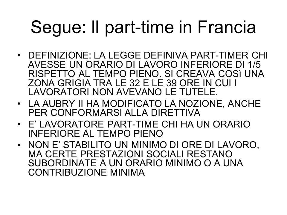 Segue: Il part-time in Francia DEFINIZIONE: LA LEGGE DEFINIVA PART-TIMER CHI AVESSE UN ORARIO DI LAVORO INFERIORE DI 1/5 RISPETTO AL TEMPO PIENO.
